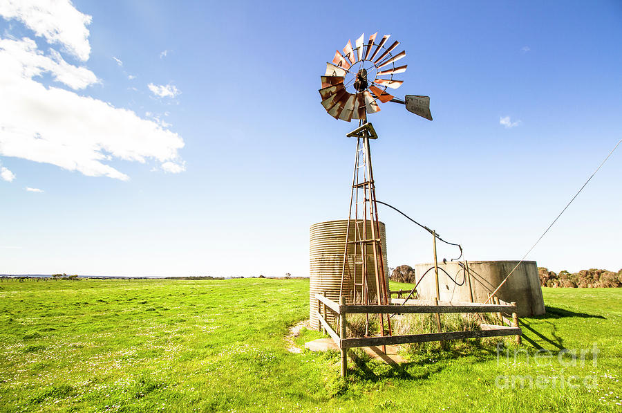Country Photograph - Wind Powered Farming Station by Jorgo Photography - Wall Art Gallery