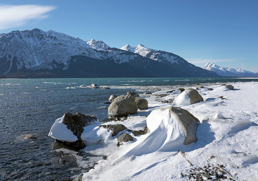 Wind sculpted snow by the Chilkat Inlet by Michele Cornelius