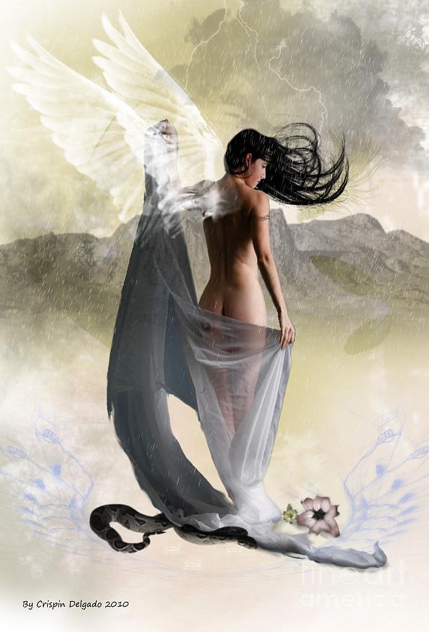 Angel Digital Art - Wind Swept by Crispin  Delgado