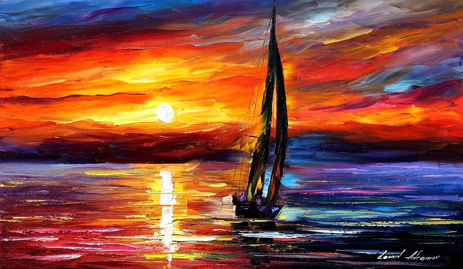 Palette Knife Sea Scape Oil Painting