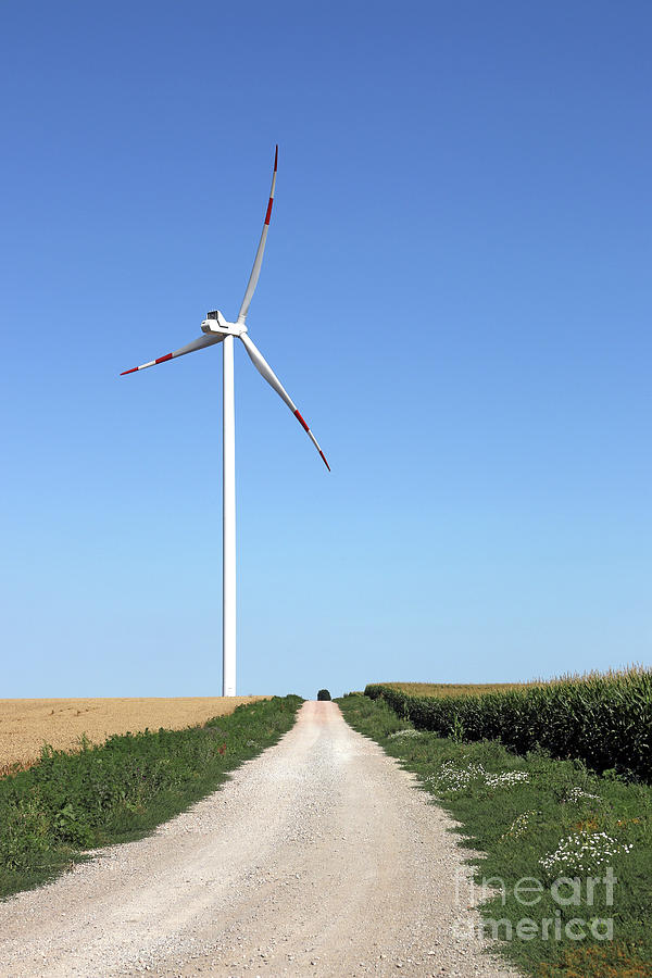 Wind Photograph - Wind Turbine On Field With Country Road by Goce Risteski