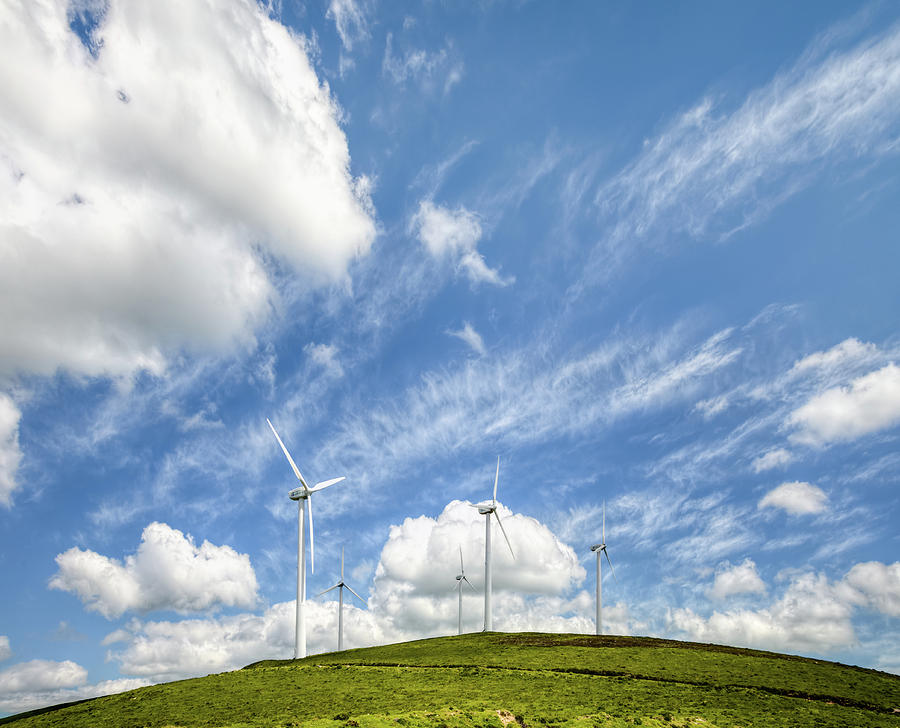 Alternative Photograph - Wind Turbines On A Hill Under A Blue Sky by Luis Vilanova