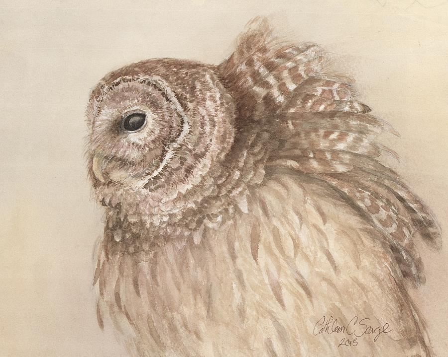 Owl Painting - Windblown Barred Owl by Cathleen Savage