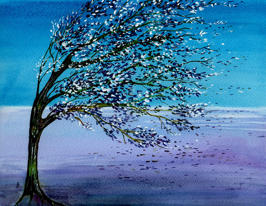 Watercolor Painting - Windblown by Brenda Owen
