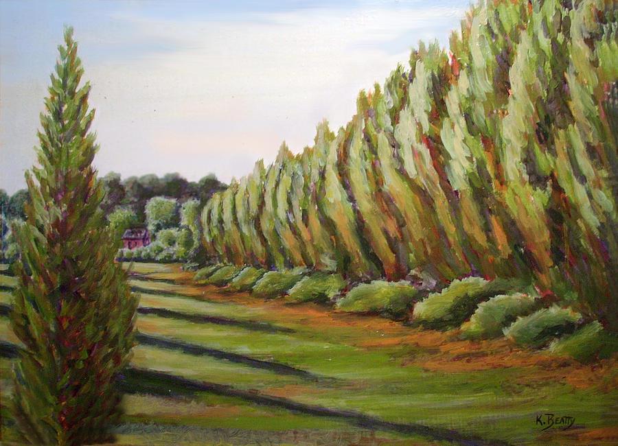 Outdoor Scene Painting - Windbreak Evening by Karla Beatty