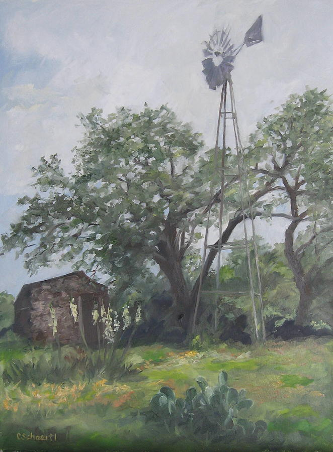 Texas Painting - Windmill At Genhaven by Connie Schaertl