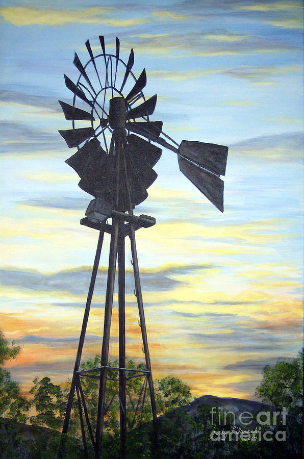 Windmill Painting - Windmill Capture The Wind by Judy Filarecki