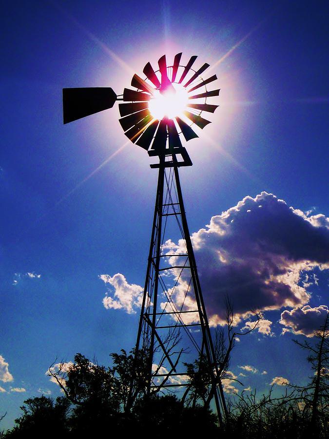 Windmill Photograph - Windmill Eclipse In Kansas by Greg Rud