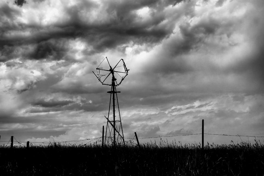 Windmill Foreground A Dramatic Sky Baw Photograph