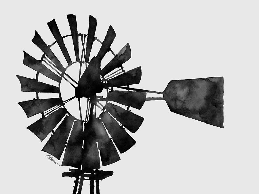 Windmill In Black And White Painting