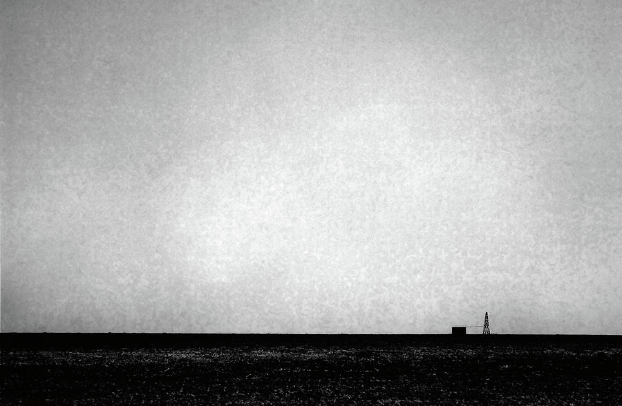 Windmill In Black And White Photograph
