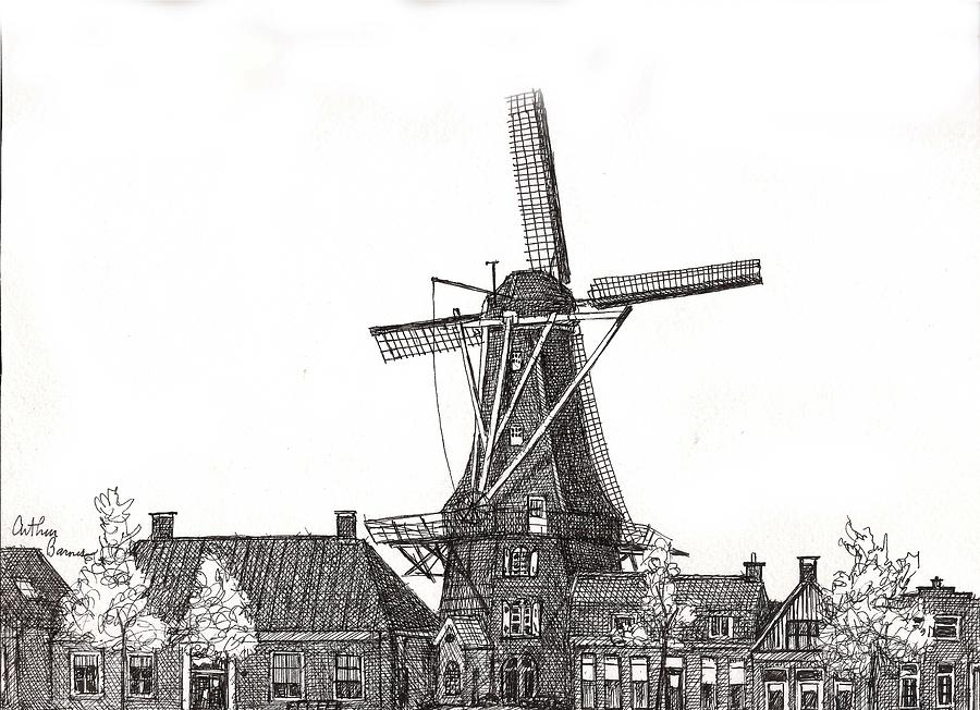 Windmill In Meppel, Holland 2016 Drawing