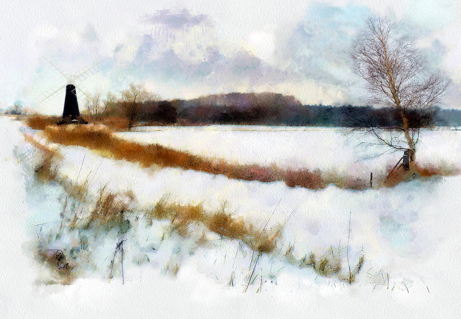 Landscape Painting - Windmill In The Snow by Valerie Anne Kelly