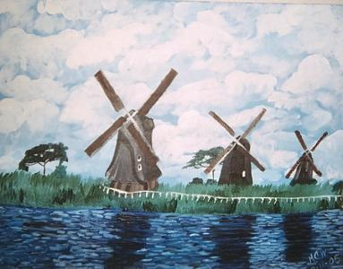 Architecture Painting - Windmills By The Water   Original by Christine Ward