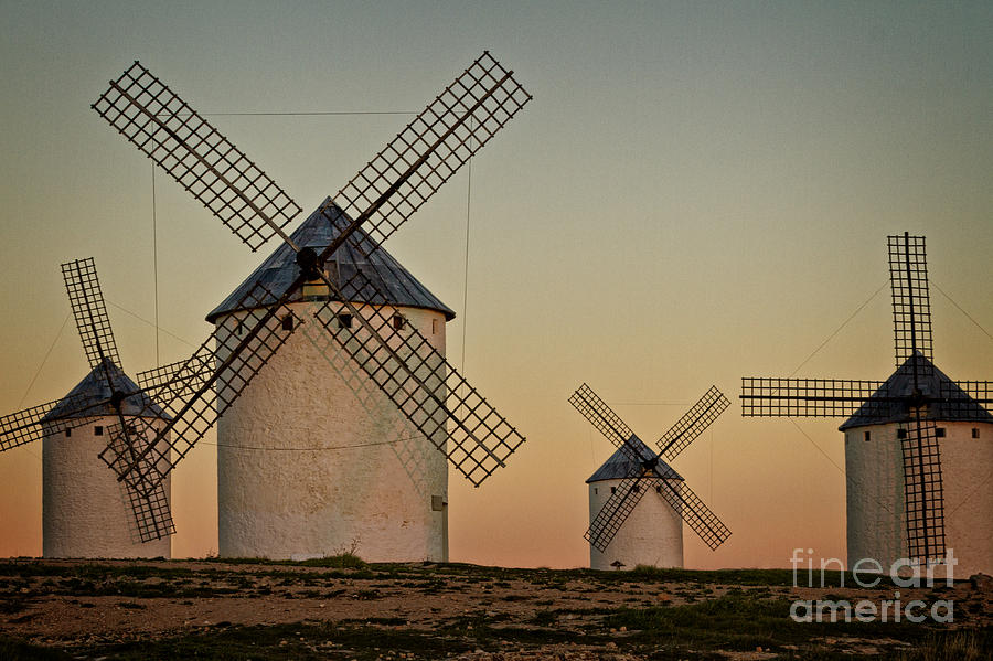 Windmills In Golden Light Photograph