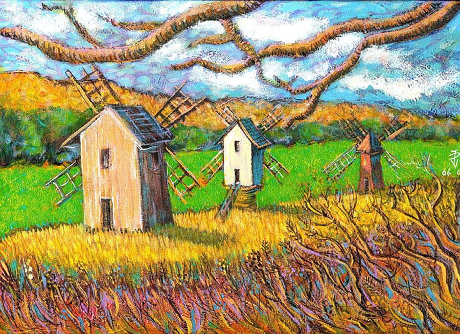 Windmills Sibiu Romania Painting