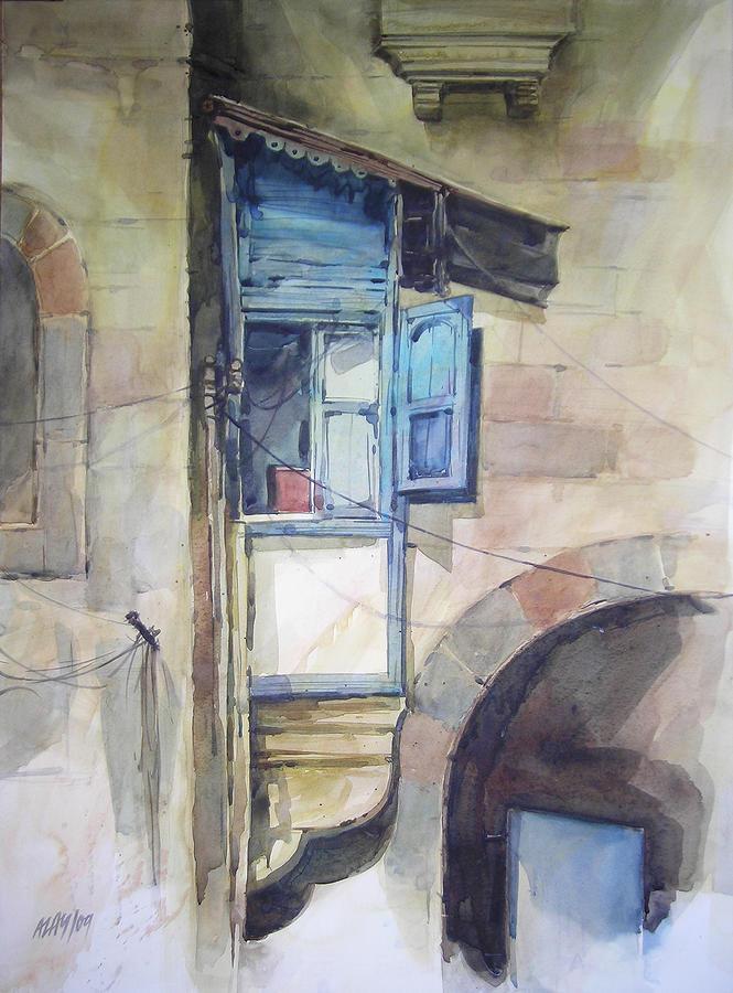 Cityscape Painting - Window 1 by Alaykumar Ghoshal