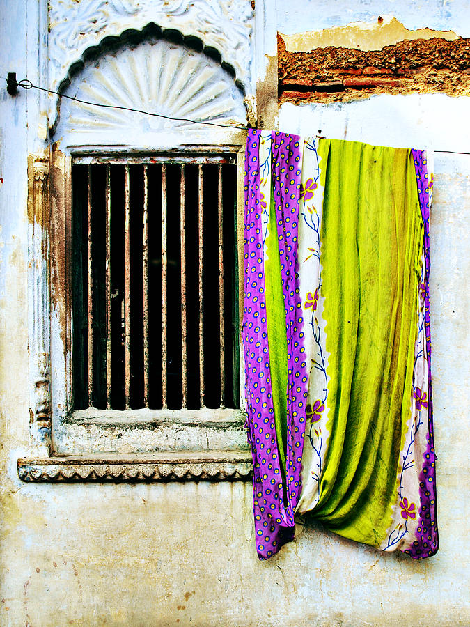 Window Photograph - Window And Sari by Derek Selander