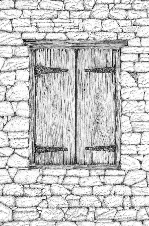 Window And Stone Wall Drawing By Ed Einboden