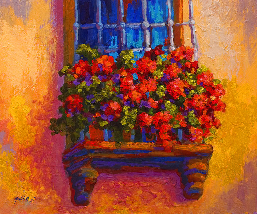 Poppies Painting - Window Box  by Marion Rose