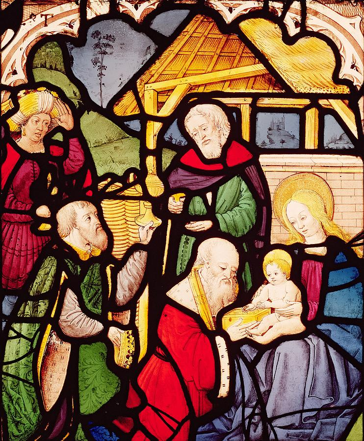 Window Painting - Window Depicting The Adoration Of The Magi by French School