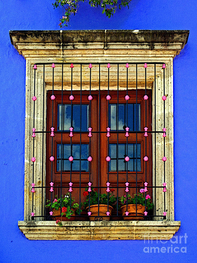 Tlaquepaque Photograph - Window In Blue With Baubles by Mexicolors Art Photography