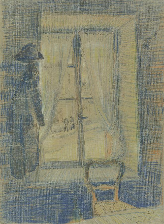 Background Painting - Window In The Bataille Restaurant Paris, February - March 1887 Vincent Van Gogh 1853 - 1890 by Artistic Panda