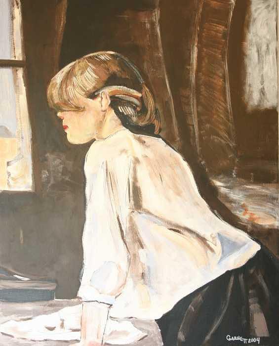 Portrait Painting - Window Lady by Garnett Thompkins