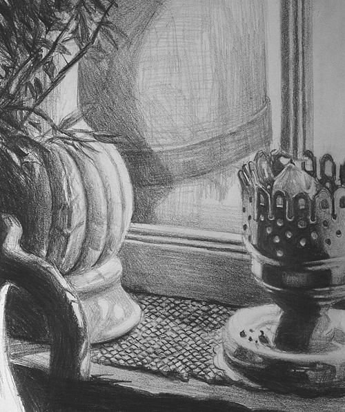 Pencil Drawing - Window Ledge by William Hay
