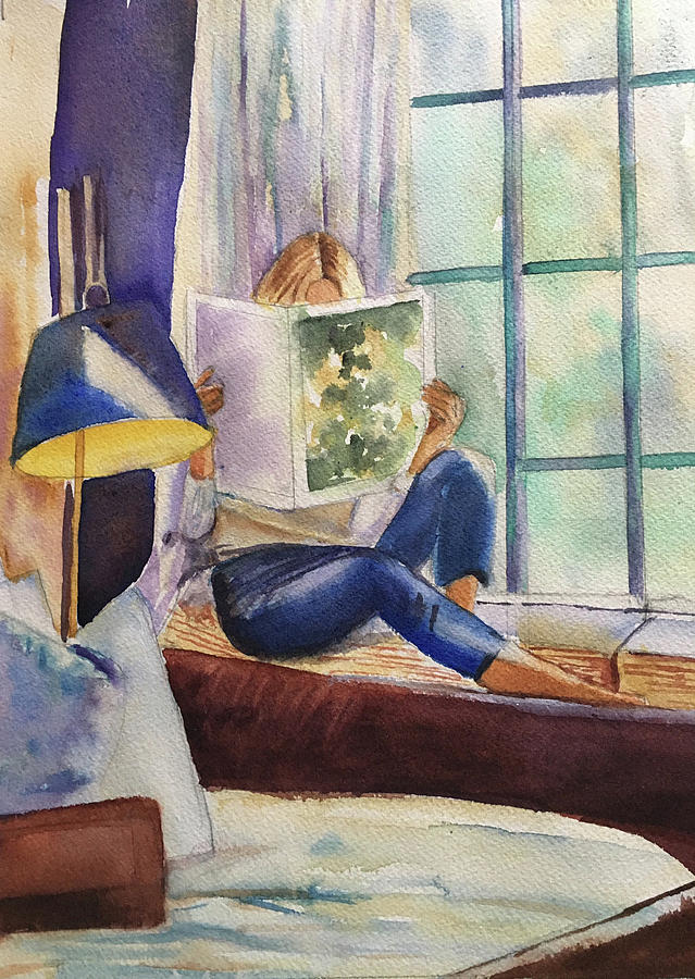 Girl Painting - Window Seat by Lynne Atwood