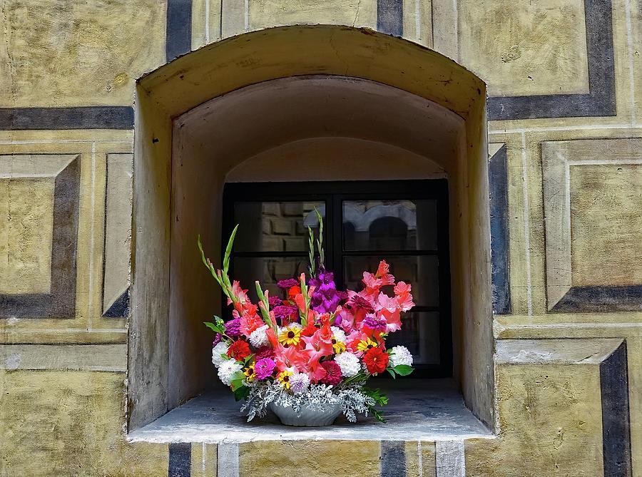 Flowers Photograph - Window Sill Flower Arrangement At Cesky Krumlov Castle In The Czech Republic by Richard Rosenshein