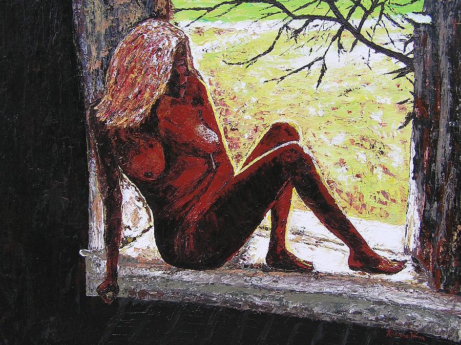 Portrait Painting - Window View by Ricklene Wren