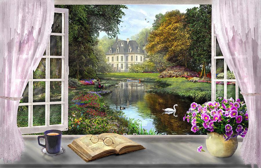 Window with a view digital art by dominic davison - Blick aus dem fenster poster ...