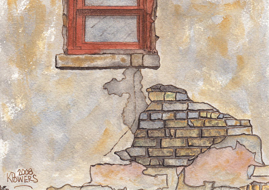 Window Painting - Window With Crumbling Plaster by Ken Powers