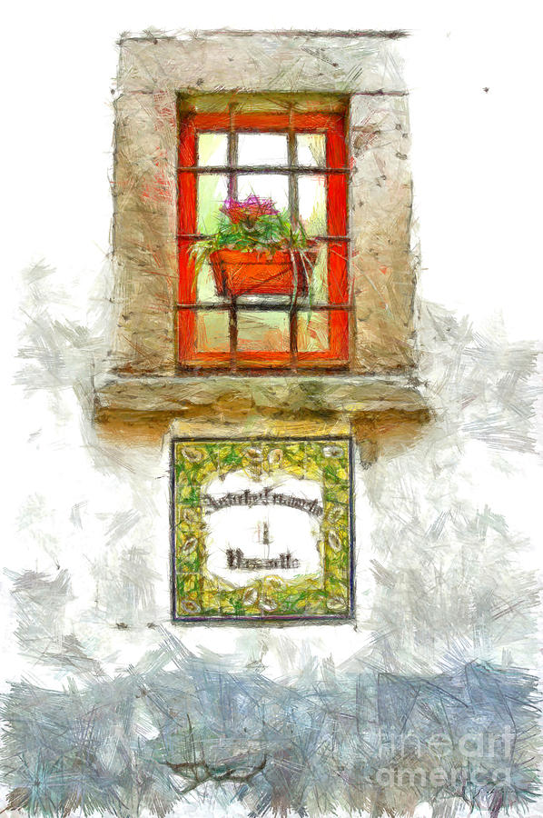 Pencil Digital Art - Window With Flower Pot by Giuseppe Cocco