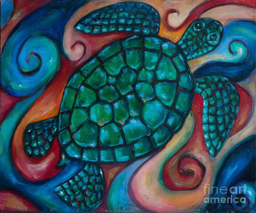 Sea Turtle Painting - Windowpane Sea Turtle by Linda Olsen