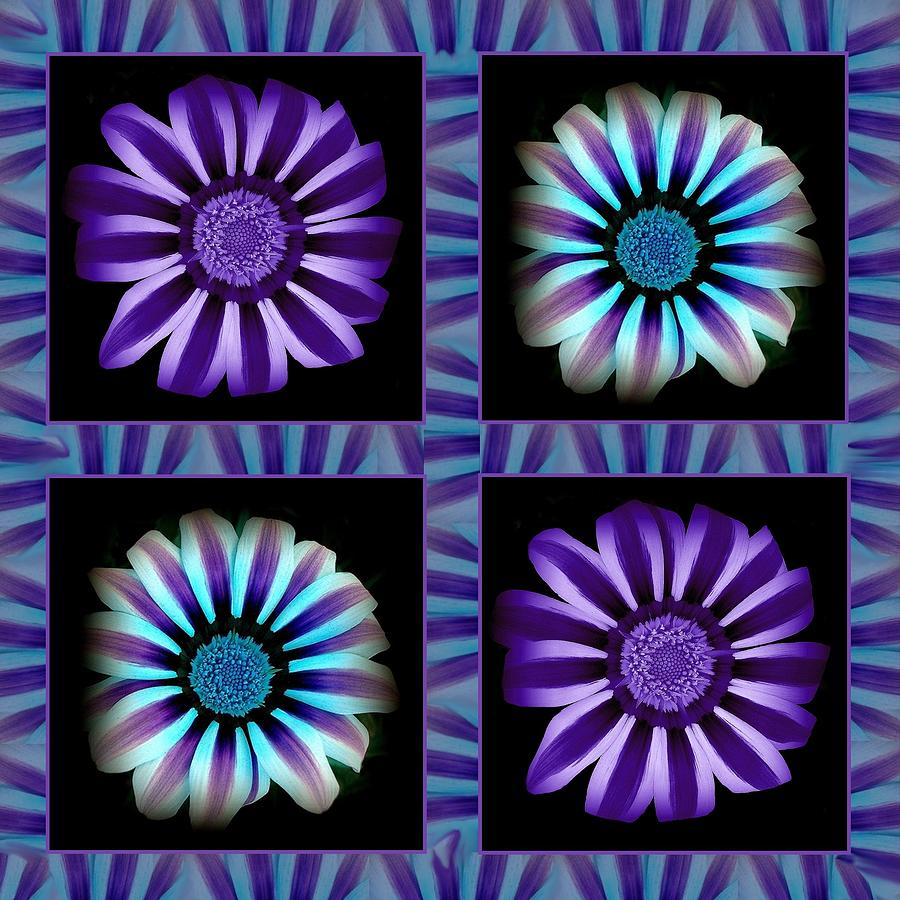 Flower Mixed Media - Windowpanes Brimming With  Moonburst Stripes Of Flowers - Scene 1 by Jacqueline Migell