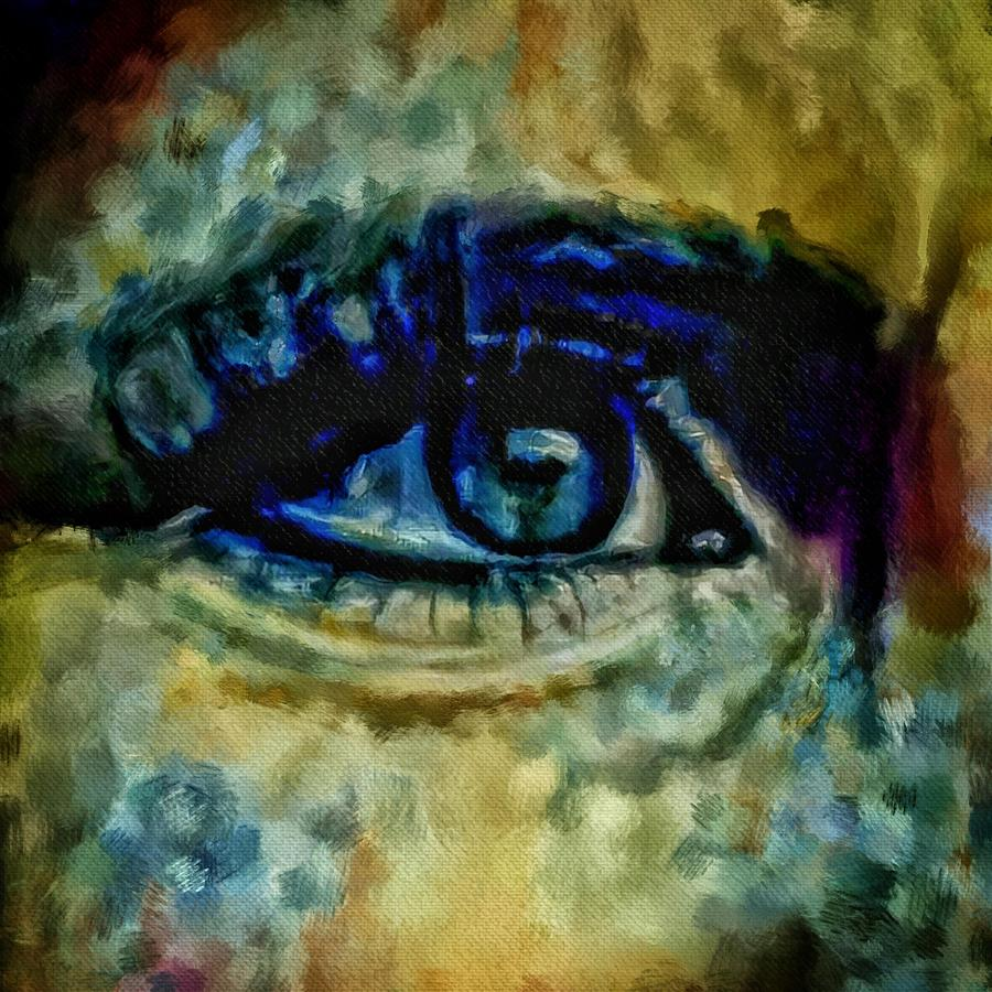 All Seeing Eye Painting - Windows Into The Soul Eye Painting Closeup All Seeing Eye In Blue Pink Red Magenta Yellow Eye Of Go by MendyZ