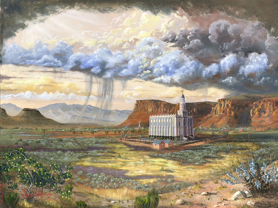 St. George Temple Painting - Windows Of Heaven by Jeff Brimley