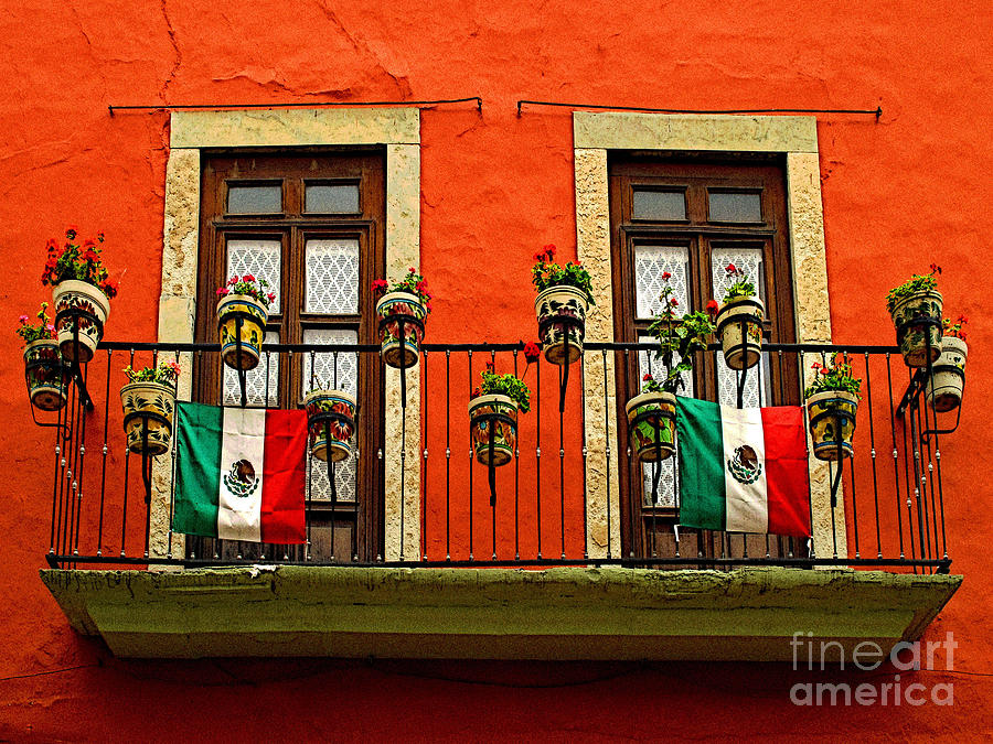 Darian Day Photograph - Windows With Flags by Mexicolors Art Photography