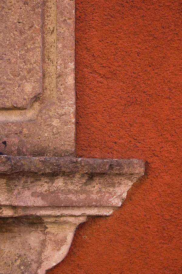 San Miguel De Allende Photograph - Windowsill And Orange Wall San Miguel De Allende by Carol Leigh
