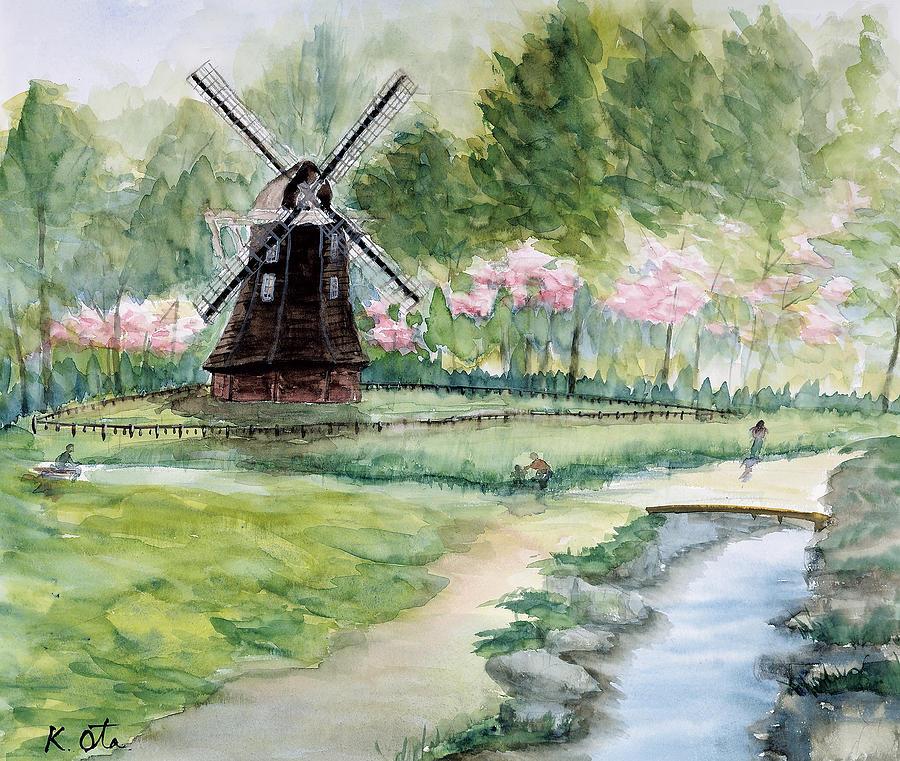 Japanese Painting - Winds Tone by Ota Kiyoko