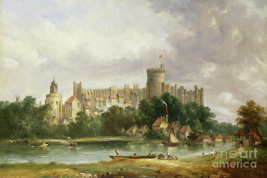 Windsor Painting - Windsor Castle - From The Thames by Alfred Vickers