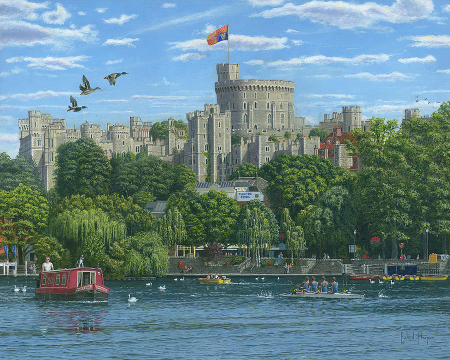 Windsor Castle From The River Thames Painting