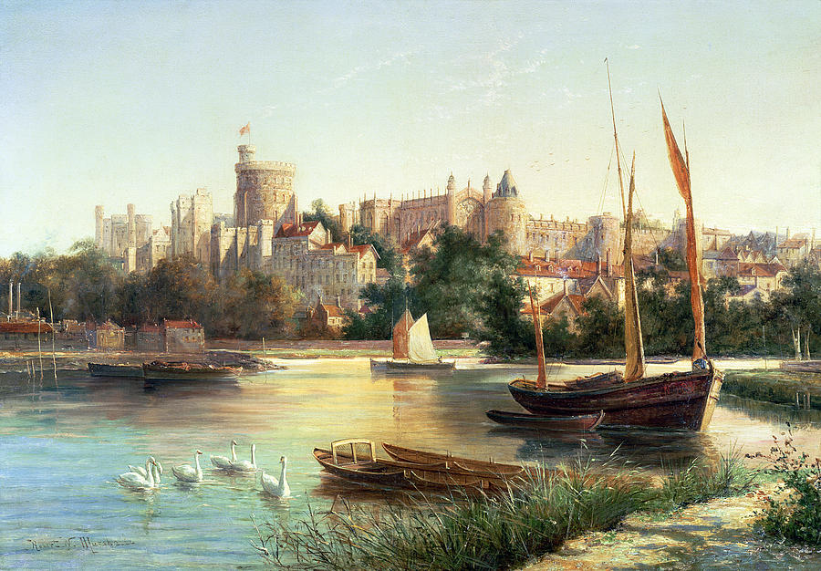 Windsor Painting - Windsor From The Thames   by Robert W Marshall