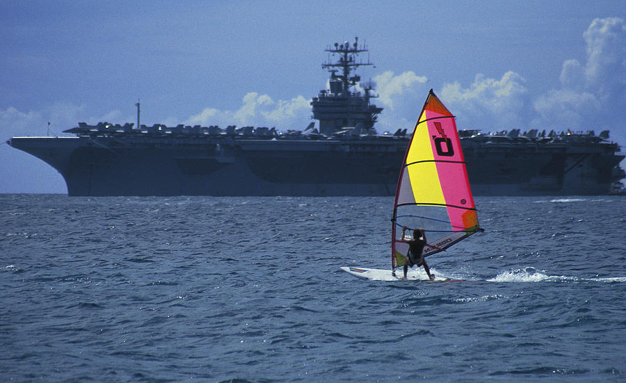 Recreation Photograph - Windsurfer And Aircraft Carrier by Carl Purcell