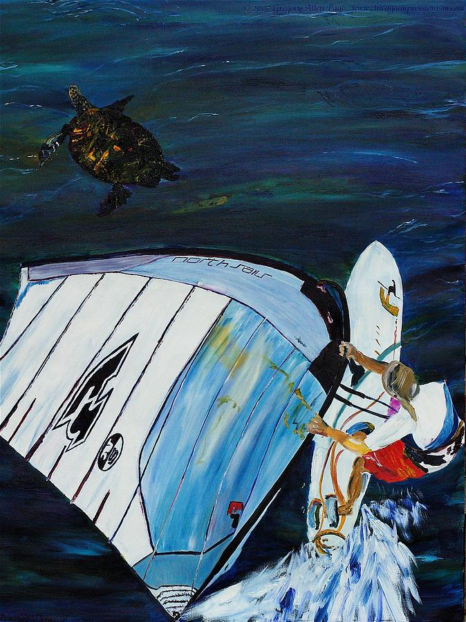 Fine Painting - Windsurfing And Sea Turtle by Gregory Allen Page