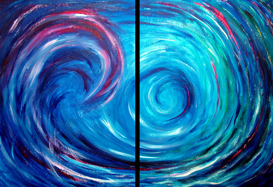 Windswept Blue Wave And Whirlpool 2 Painting By Nancy Mueller