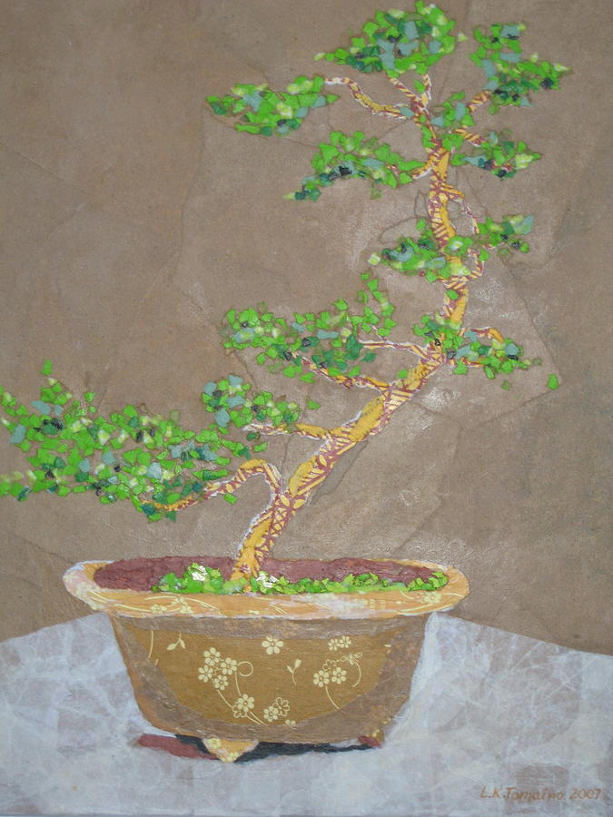 Banzai Tree Painting - Windswept Juniper by Leah  Tomaino