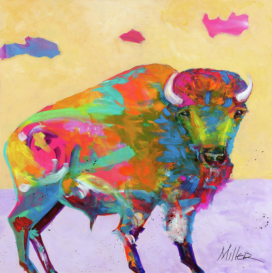 Buffalo Painting - Windswept by Tracy Miller